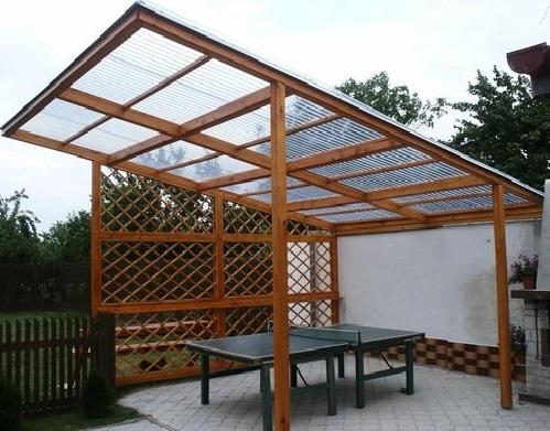 Односкатная крыша для беседки