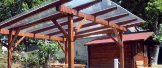 Односкатная крыша из поликарбоната для беседки