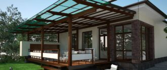 Беседка, пристроенная к дому с односкатной крышей